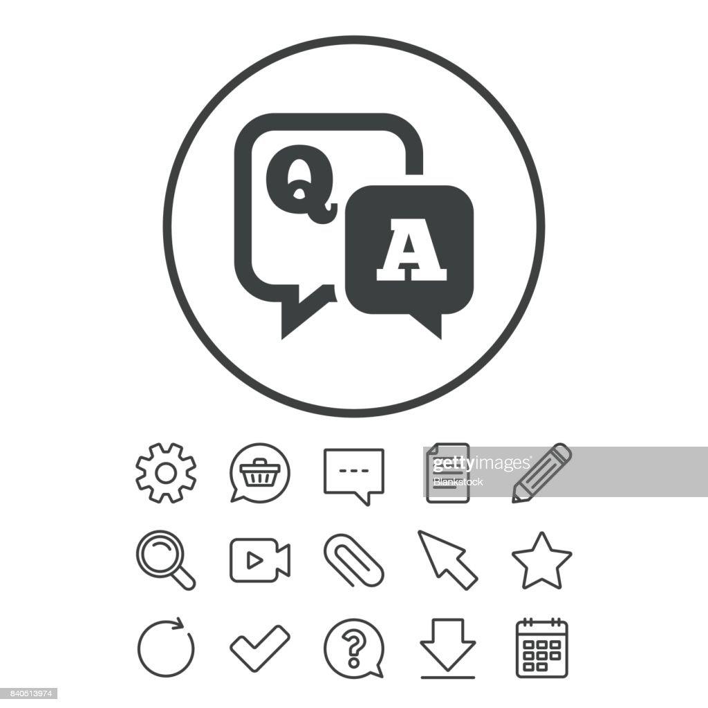 Question answer sign icon. Q&A symbol.