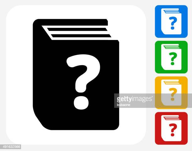 frage buch-symbol flache grafik design - enciclopedia stock-grafiken, -clipart, -cartoons und -symbole