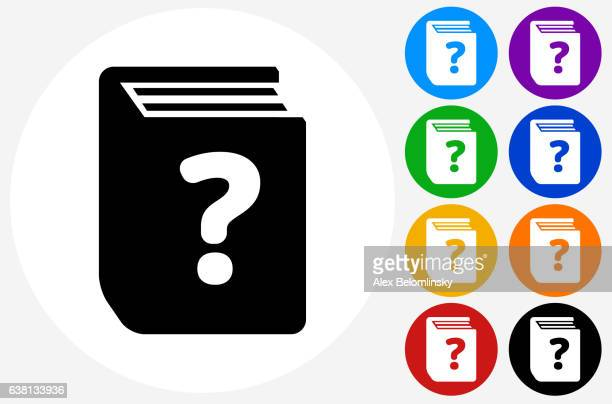 Question Book Icon on Flat Color Circle Buttons