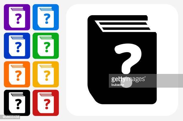 ilustrações, clipart, desenhos animados e ícones de pergunta livro ícone quadrado botão set - enciclopédia