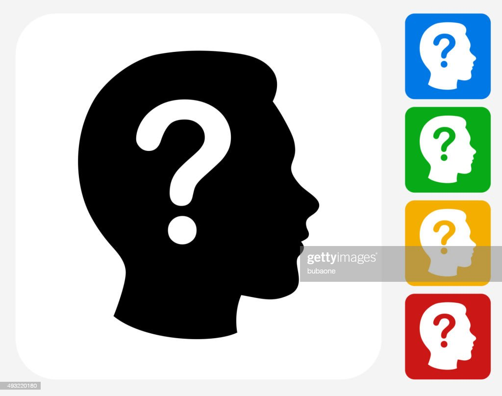 Question Face Icon Flat Graphic Design