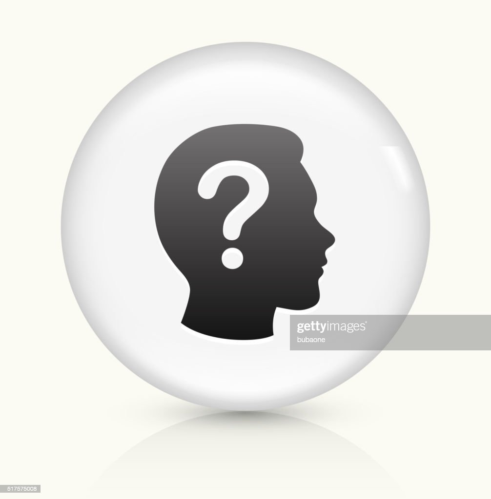 Question Face icon on white round vector button