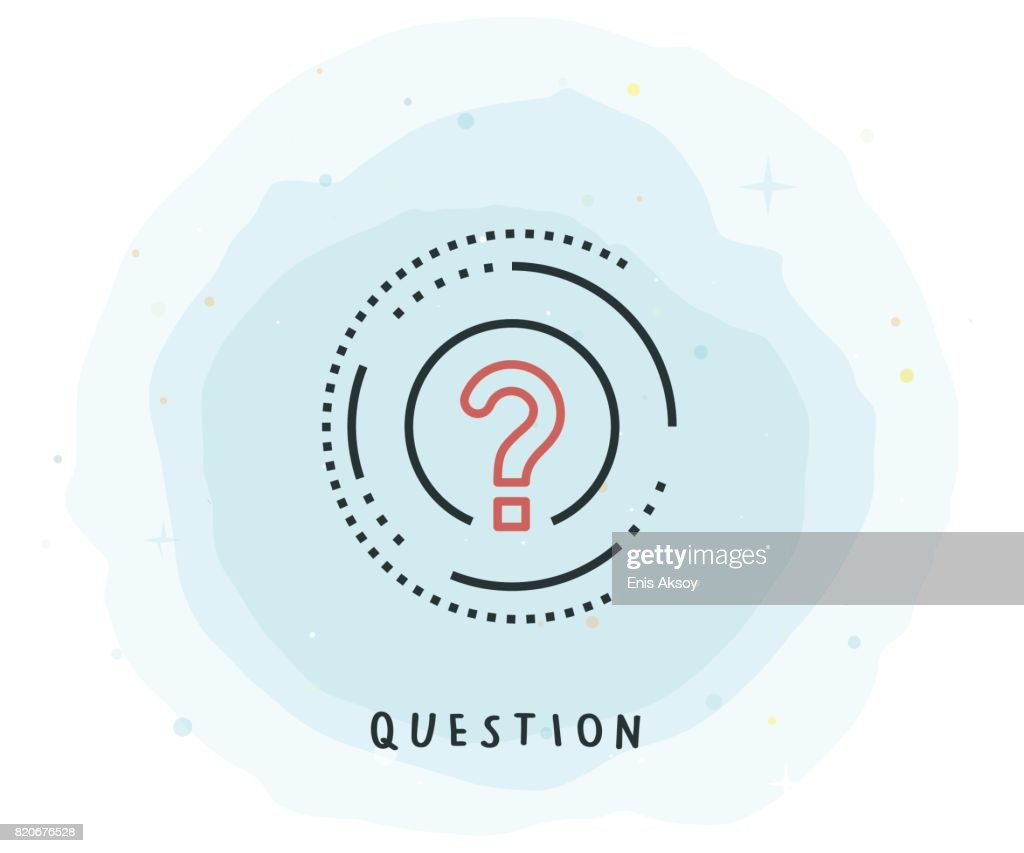 Question Icon with Watercolor Patch : Stock Illustration