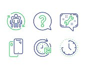 Question mark, 24h delivery and Teamwork icons set. Smartphone, Spanner and Time signs. Vector