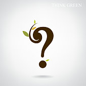 Question mark and think green concept.