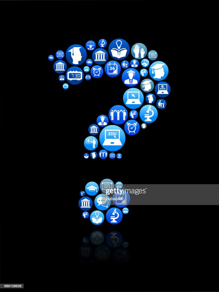 Question Mark E-learning and College Education Blue Button Pattern : Stock Illustration