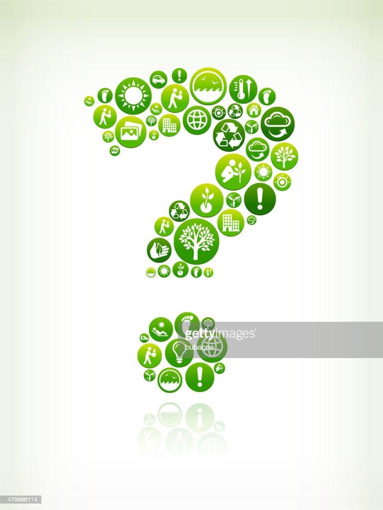 Question Mark Environmental Conservation Green Vector Button Pattern.