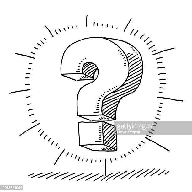 ilustraciones, imágenes clip art, dibujos animados e iconos de stock de pregunta marca resplandor símbolo dibujo - uncertainty
