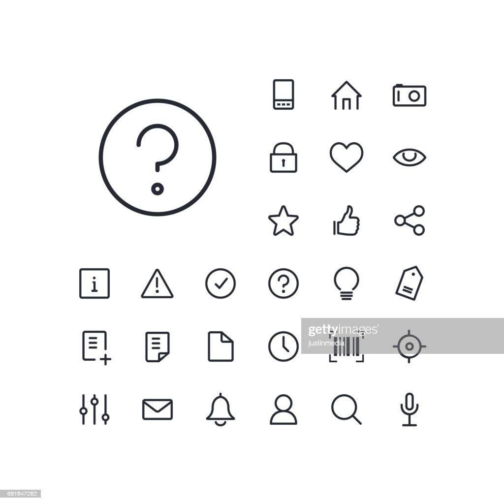 Question mark icon in set on the white background. Universal linear icons to use in web and mobile app.