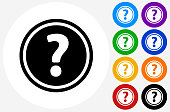 Question Mark Icon on Flat Color Circle Buttons