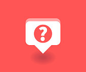 Question mark icon, vector symbol in flat style isolated on red background. Social media illustration.