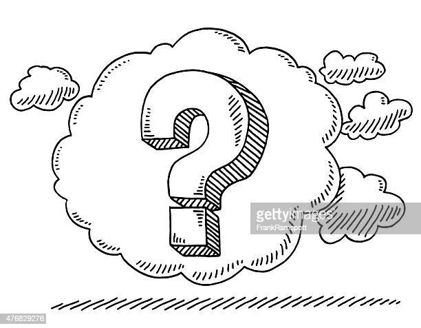 question mark in thought bubble drawing - contemplation stock illustrations, clip art, cartoons, & icons