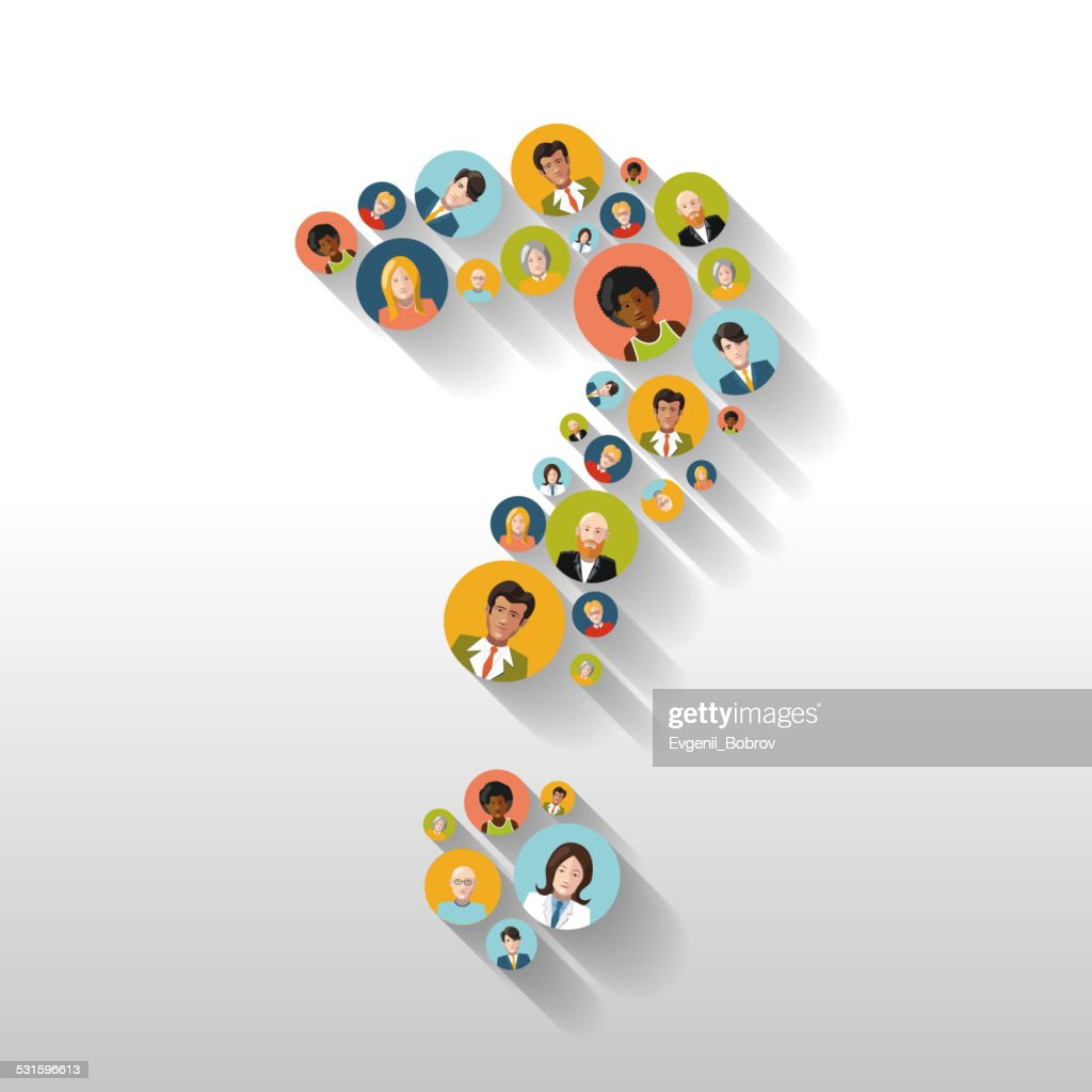 Question mark made up of people with avatars long shadow