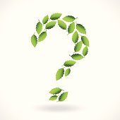 question mark making of green leaf