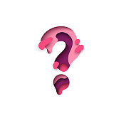 Question mark of paper cut. Design 3d sign isolated on white background.