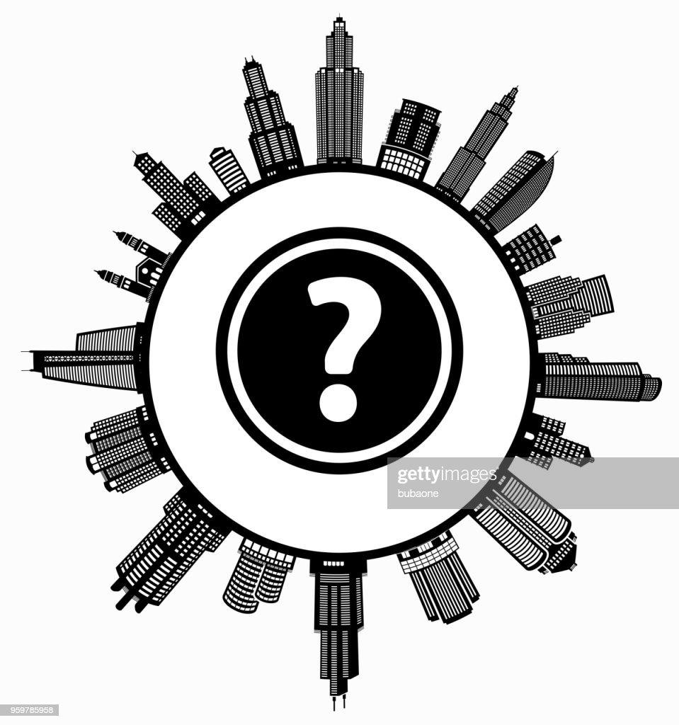 Fragezeichen auf modernen Stadtbild Skyline Hintergrund : Stock-Illustration