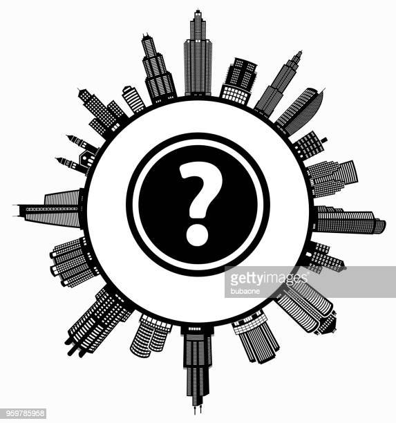 question mark  on modern cityscape skyline background - commercial real estate stock illustrations
