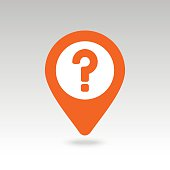 Question mark pin map icon. Map pointer, markers.