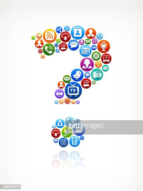 question mark royalty-free vector social networking and internet icon set - text messaging stock illustrations, clip art, cartoons, & icons