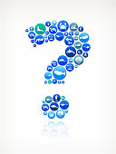 Question Mark Sea and Marine Life Button Pattern