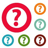 Question mark sign icons circle set vector