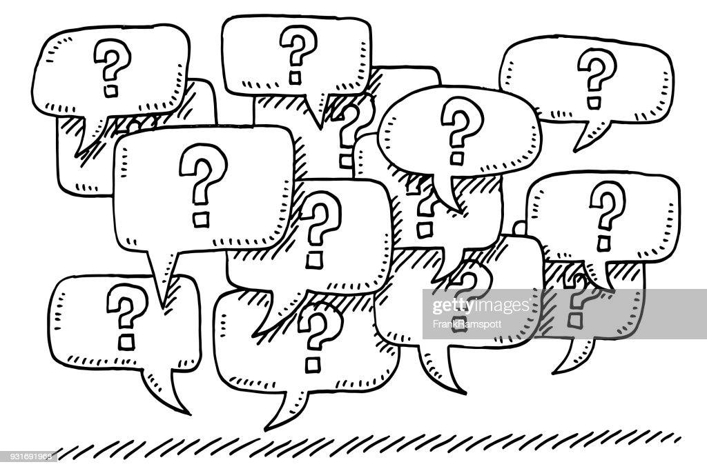 Question Mark Speech Bubbles Drawing : Stock Illustration