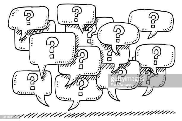 illustrazioni stock, clip art, cartoni animati e icone di tendenza di question mark speech bubbles drawing - domanda e risposta
