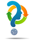 Question mark symbol silhouette of a girl