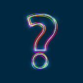 Question mark - Vector multicolored outline font with glowing effect isolated on blue background.