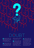 Question mark with doubt man icon pictogram in classroom, Social issues: Education concept magazine page layout design illustration isolated on dark blue background, with copy space