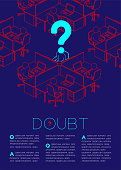 Question mark with doubt man icon pictogram, Social issues: Office concept magazine page layout design illustration isolated on dark blue background, with copy space
