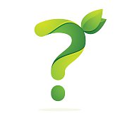 Question mark with with green leaves.