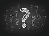 Question Marks on the Blackboard
