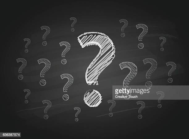 question marks on the blackboard - asking stock illustrations