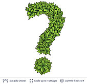 Question sign of green leaves.