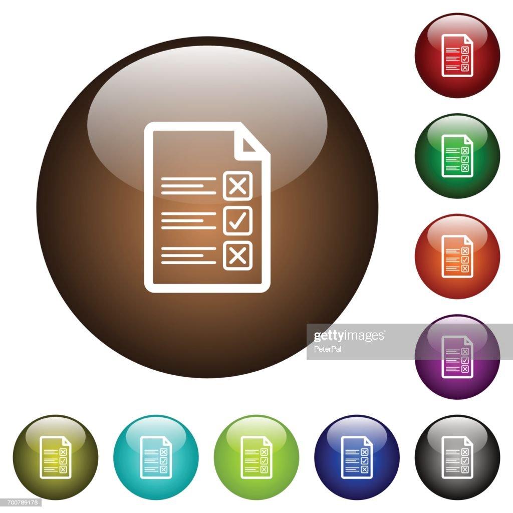 Questionnaire document color glass buttons