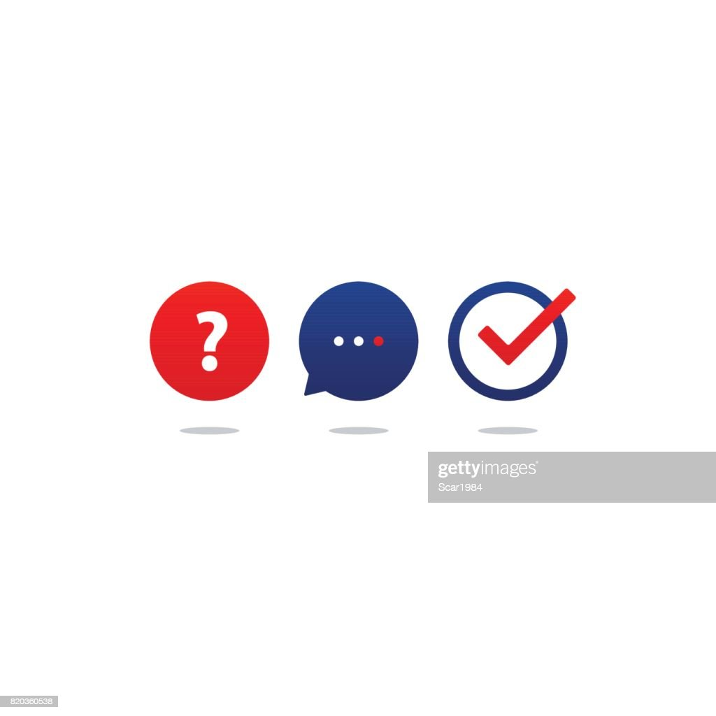 Questionnaire icon set, help desk support, tutoring and guidance