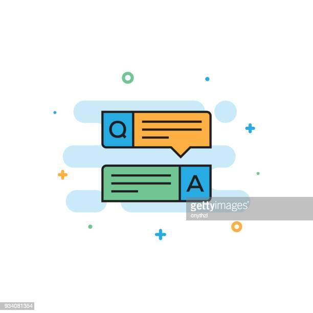 ilustraciones, imágenes clip art, dibujos animados e iconos de stock de icono de línea plana de preguntas y respuestas - cuestionario