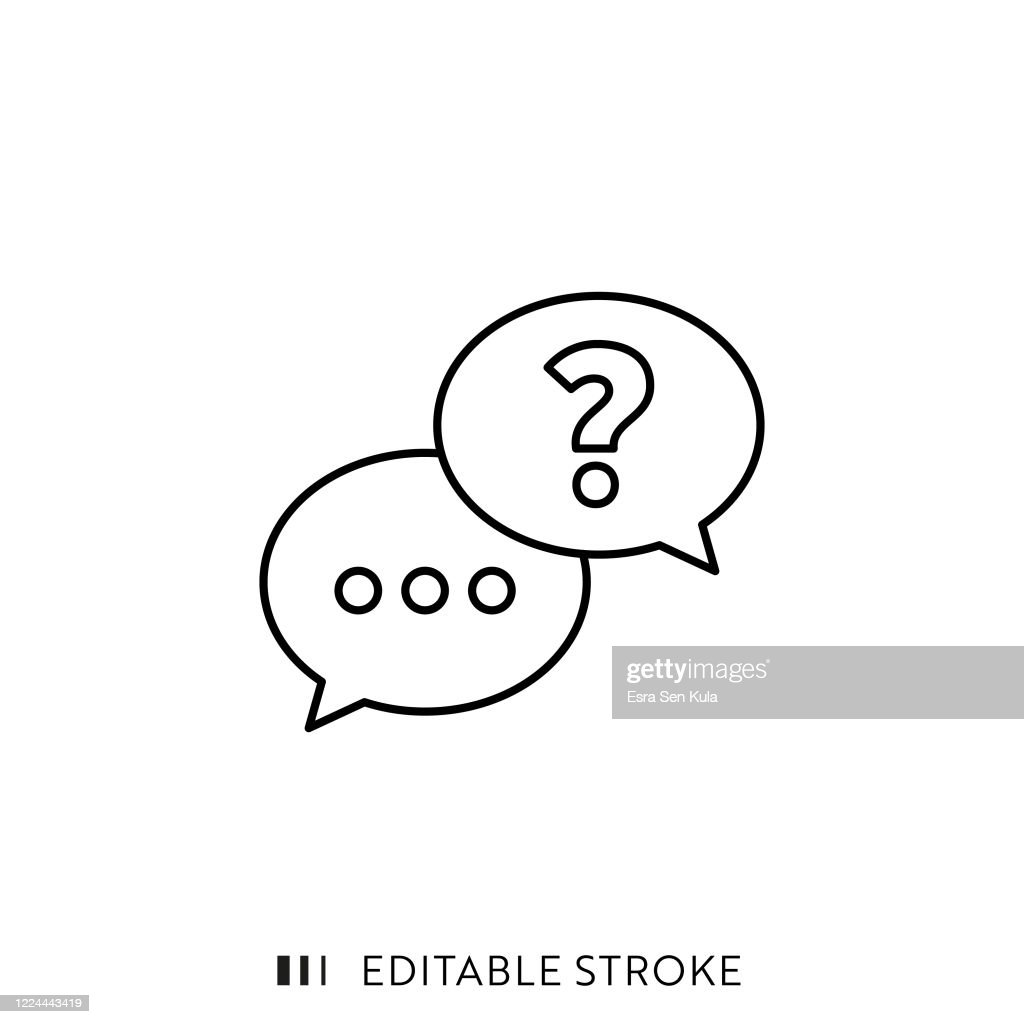 Questions and Answers Line Icon with Editable Stroke and Pixel Perfect. : Stock Illustration