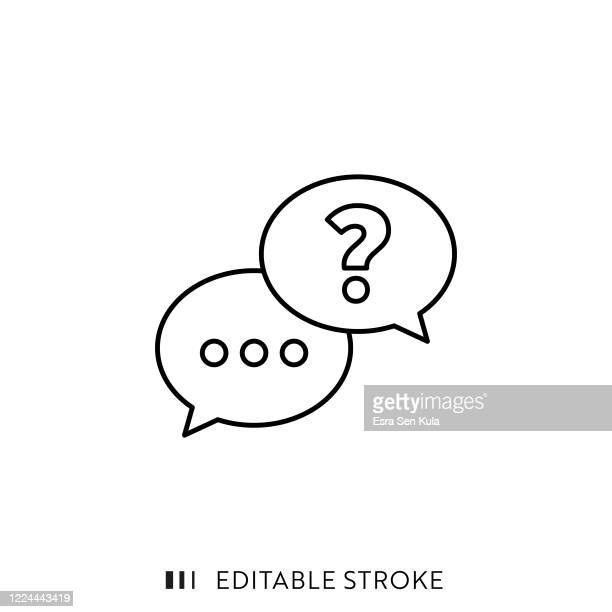 questions and answers line icon with editable stroke and pixel perfect. - discussion stock illustrations