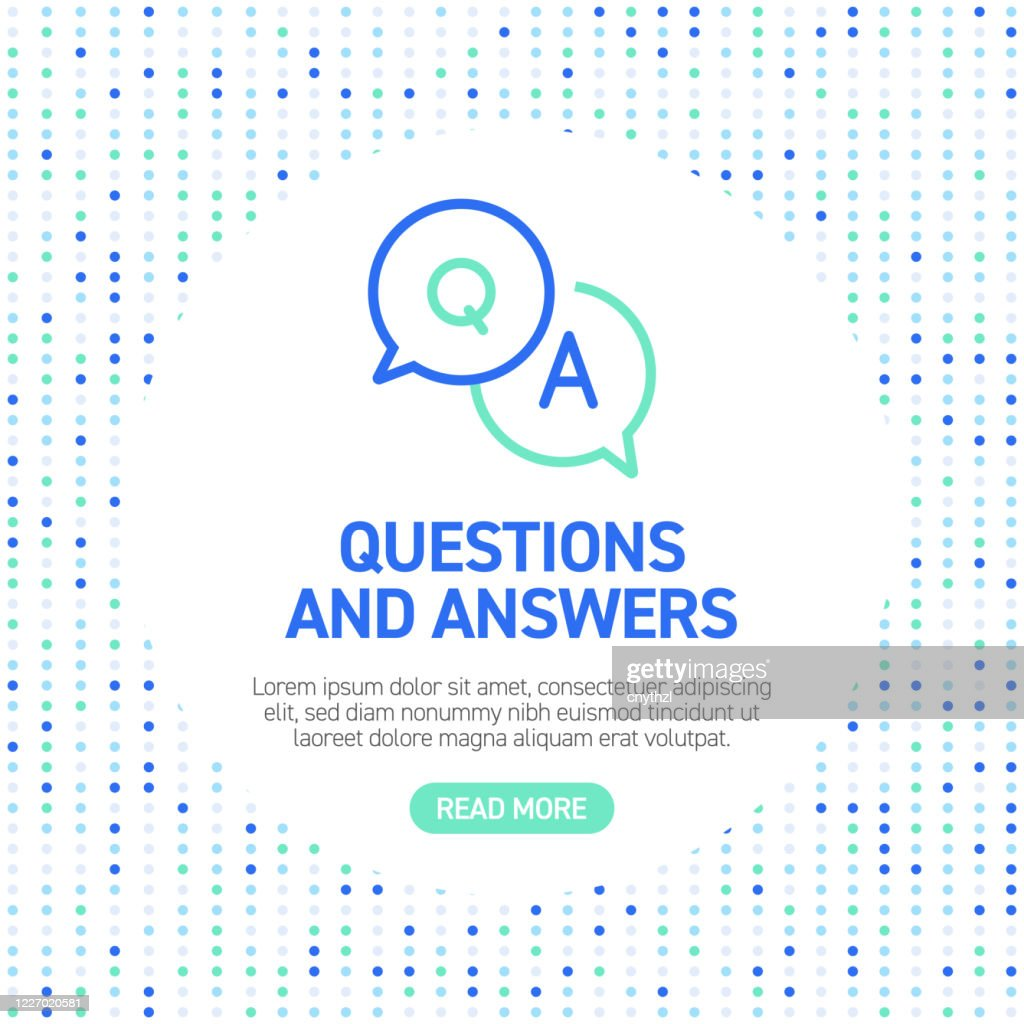 Questions and Answers Line Icons. Simple Outline Icons with Pattern : Stock Illustration