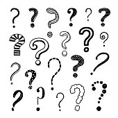 Questions marks hand drawn typographic symbols. Sketch questions signs