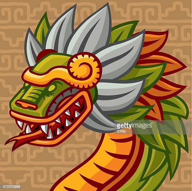 quetzalcóatl (mexican feathered snake god) - aztec stock illustrations