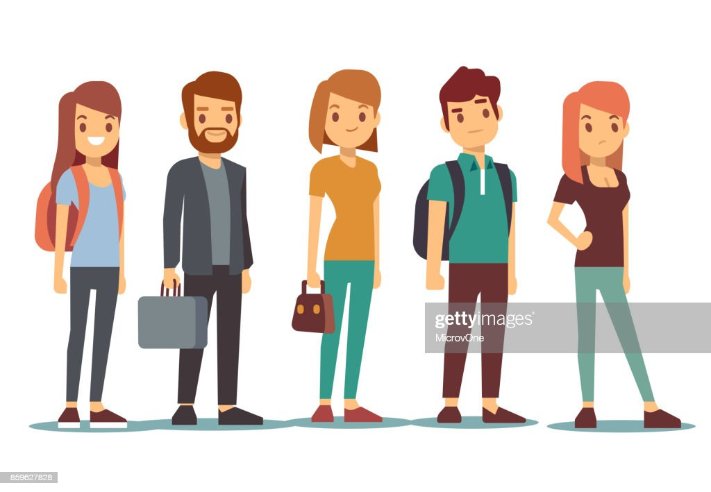 Queue of young people. Waiting women and men standing in line. Vector illustration