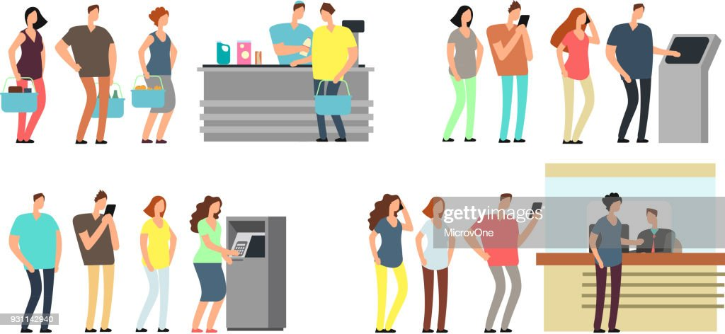 Queues of people vector set. Man and woman standing in line at atm, terminal and bank vector cartoon icons set