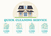 Quick Cleaning Service. Vector Flat Illustration.