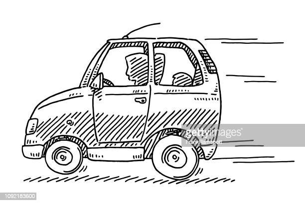 Schnelle Fahrt Kleinwagen Zeichnung