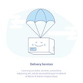 Quick Express Delivery Service. Package flying down from sky with parachute - Vector concept.
