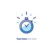 Quick services, fast delivery, deadline time, delay alarm, line icon