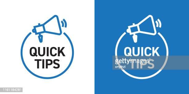 illustrazioni stock, clip art, cartoni animati e icone di tendenza di suggerimenti rapidi progettazione badge con icona - consiglio